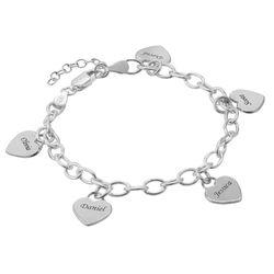 Armband met Hart Bedeltjes in 925 Zilver Productfoto