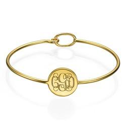 Ronde Monogram Bangle Armband in Goudkleur Productfoto