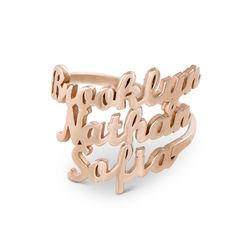 Drie roségoud vergulde naam ringen product photo