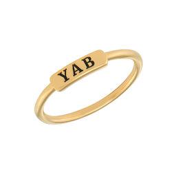 Stapelbare ring met naamplaatje in vergulde uitvoering Productfoto