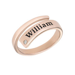 Gepersonaliseerde wikkelring met naam en diamant in rosé-vergulde Productfoto