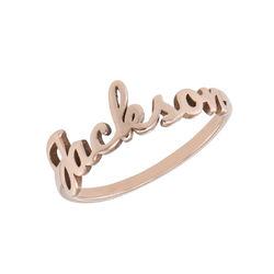 Naam-ring met lopend schrift in rosé-vergulde uitvoering Productfoto