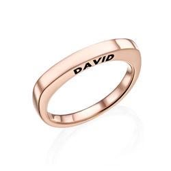 Rosé-vergulde gegraveerde vierkante ring Productfoto