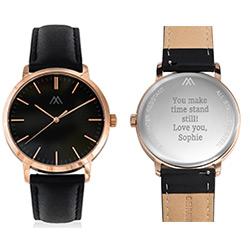 Hampton gepersonaliseerde minimalistische zwarte lederen horlogeband Productfoto