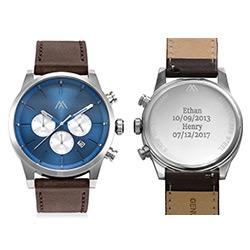 Quest chronograaf kwarts horloge met lederen armband - blauw Productfoto