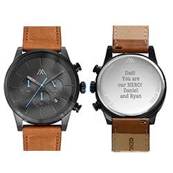 Quest chronograaf kwarts horloge met lederen armband - zwart Productfoto