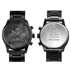 Quest chronograaf kwartshorloge zwart roestvrij staal Productfoto