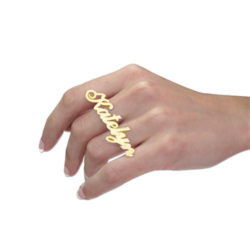 14k Goud Twee Vinger Naam Ring - 1