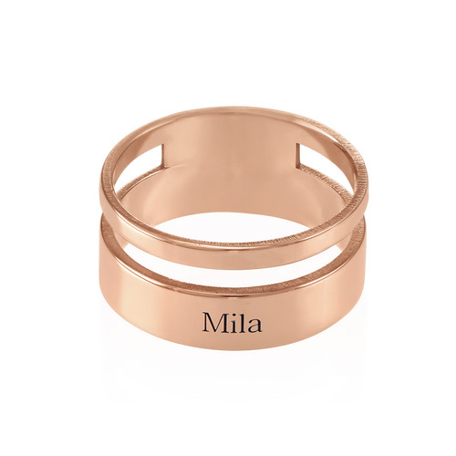 Asymmetrische Rosé-Vergulde Ring met Naam - 1