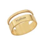 Asymmetrische Vergulde Ring met Naam