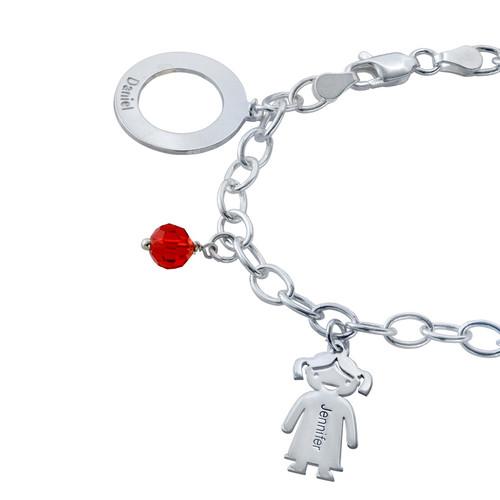 Bedels en Geboortestenen Armband in 925 Zilver - 1