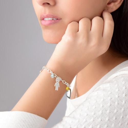 Bedels en Geboortestenen Armband in 925 Zilver - 3