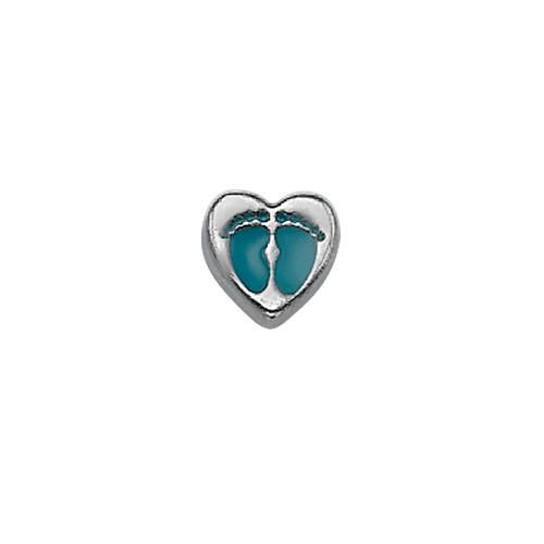 Blauwe baby voeten hart Bedel voor Floating Locket