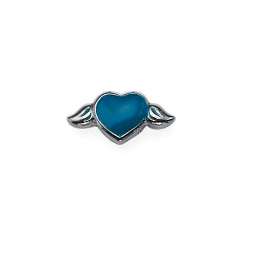 Blauwe hart Bedel voor Floating Locket