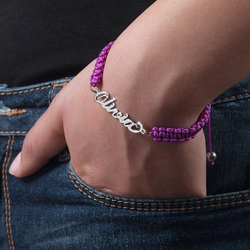 Carrie stijl Naam Armband aan Koord - 3