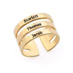 Drie geelgoud vergulde naam ringen