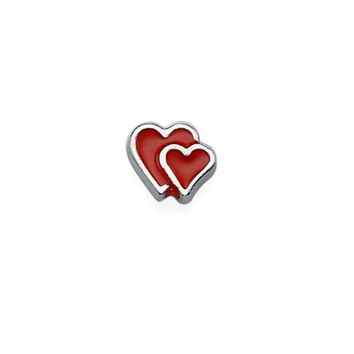 Dubbele rode harten Bedel voor Floating Locket