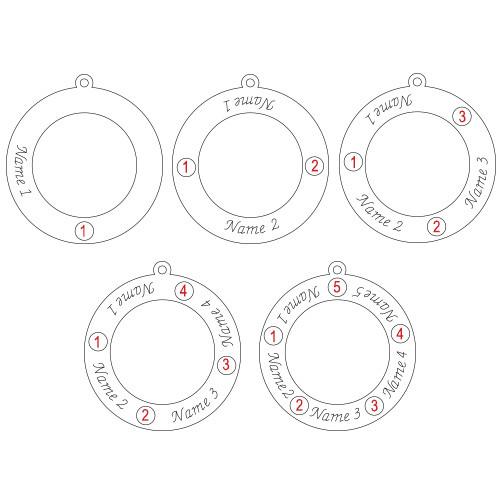 Familie Cirkel Ketting met Geboortestenen in 925 Zilver - 1