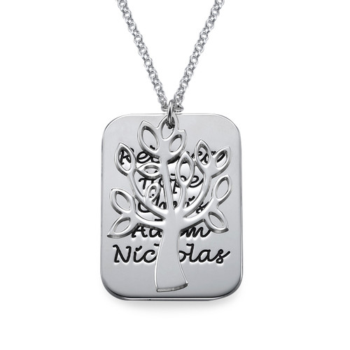 Familie Dog Tag Ketting Stamboom Bedel in 925 Zilver - 1