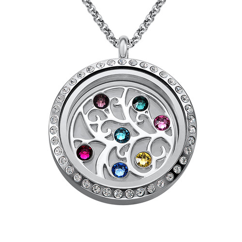 Familie Stamboom Floating Locket met Geboortestenen