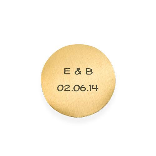 Floating Locket Schijf – Graveerbare Goudkleurige Disc met Initialen
