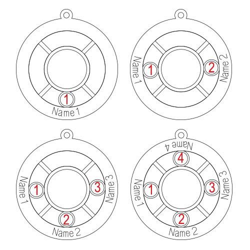 Gepersonaliseerde Familie Cirkel Ketting met Geboortestenen in 925 Zilver - 1