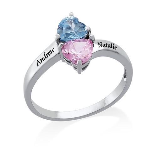 Gepersonaliseerde Hart Geboortesteen Ring in 925 Zilver - 1