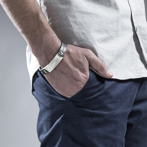 Gepersonaliseerde Leren Armband voor Heren - 2