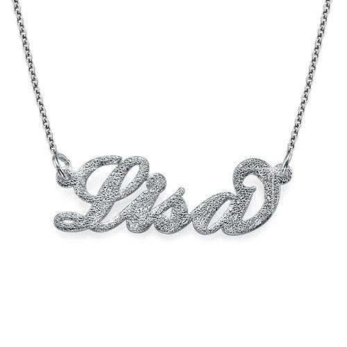 """Glinsterend Diamant Gesneden 925 Zilver """"Carrie"""" stijl NaamKetting"""