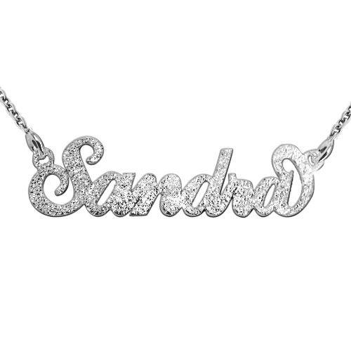 """Glinsterend Diamant Gesneden 925 Zilver """"Carrie"""" stijl NaamKetting - 1"""