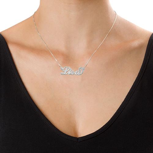 """Glinsterend Diamant Gesneden 925 Zilver """"Carrie"""" stijl NaamKetting - 2"""