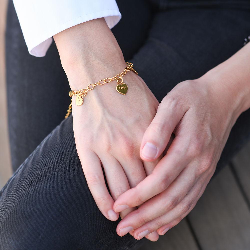 Armband met Hart Bedeltjes in Goud Verguld Zilver - 1