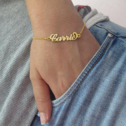 Carrie stijl Naam Armband / Enkelband in Goud Verguld Zilver - 2