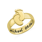 Graveerbare Babyvoeten Ring in Goudkleur