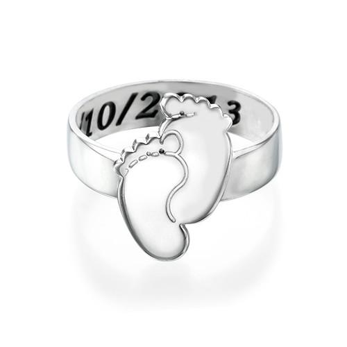 Graveerbare Babyvoeten Ring in 925 Zilver - 1