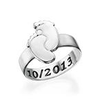 Graveerbare Babyvoeten Ring in 925 Zilver