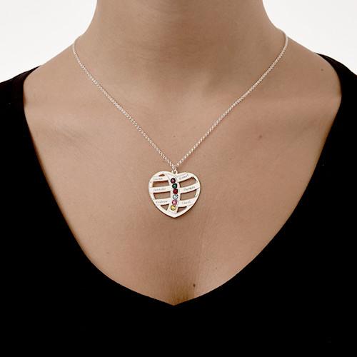 925 Zilveren Graveerbare Hart Ketting met Geboortestenen - 4