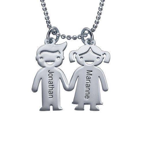 Hand in Hand Kinder Bedel Ketting in 925 Zilver
