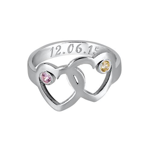 Hart Moeder Ring met Geboortestenen - 1