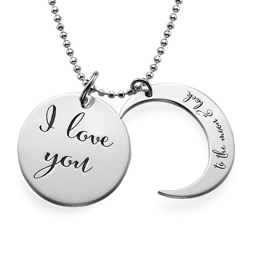 I Love You to the Moon and Back Ketting in 925 Zilver - 1
