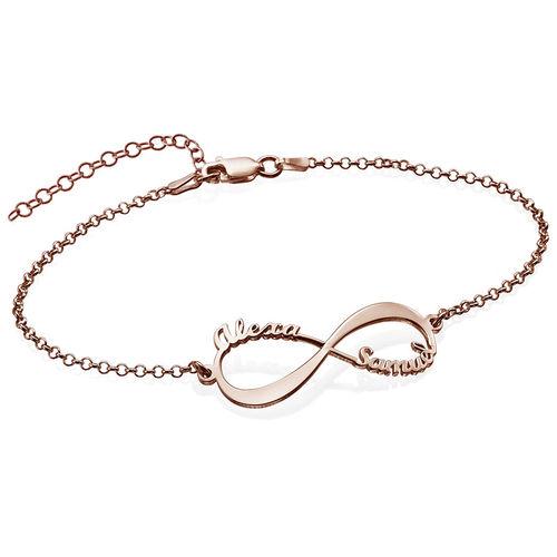 Infinity Armband met Namen in roségoud verguld zilver