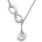 Infinity Y-vorm Ketting met Geboortesteen en Initiaal in 925 Zilver