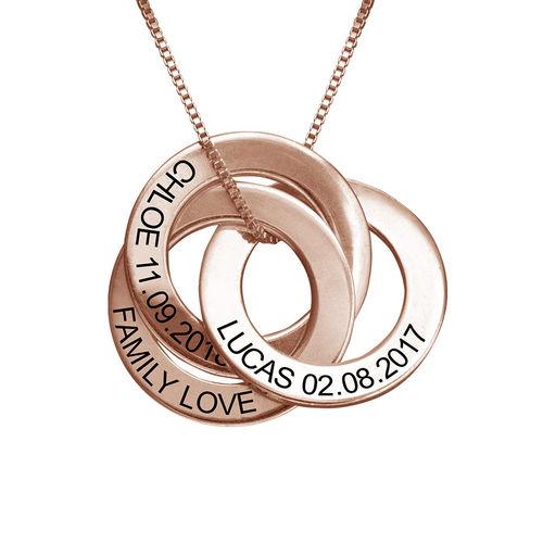 Ketting met Russische Ring en Ingravering - Rosé-verguld - 1