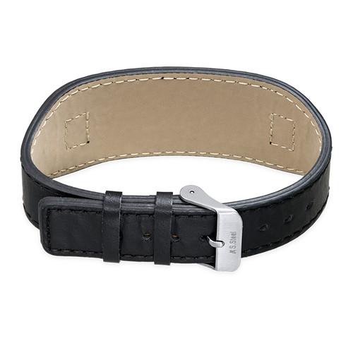 Mannen ID Armband in Zwart Leer - 1