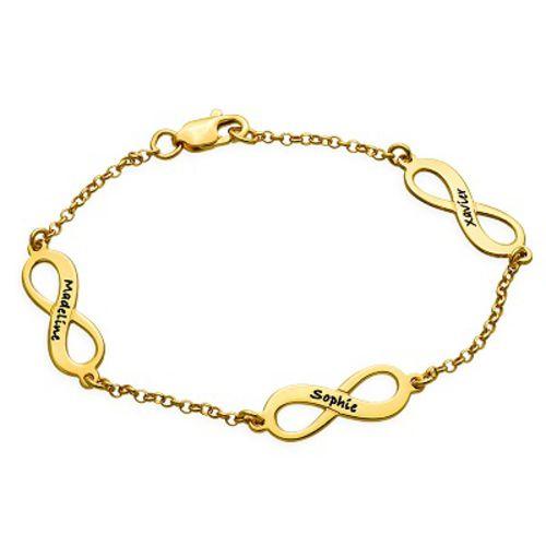 Meervoudige Infinity Armband in Goudverguld Zilver