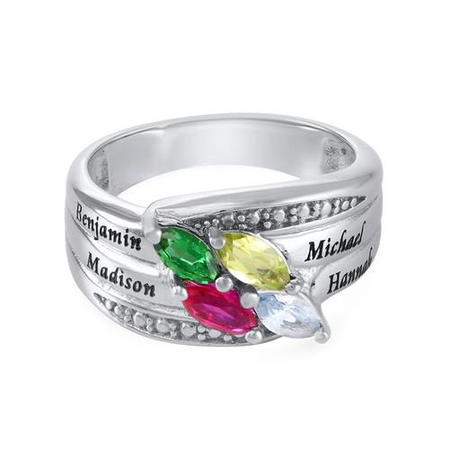 Moeder Ring met Geboortestenen in 925 Zilver