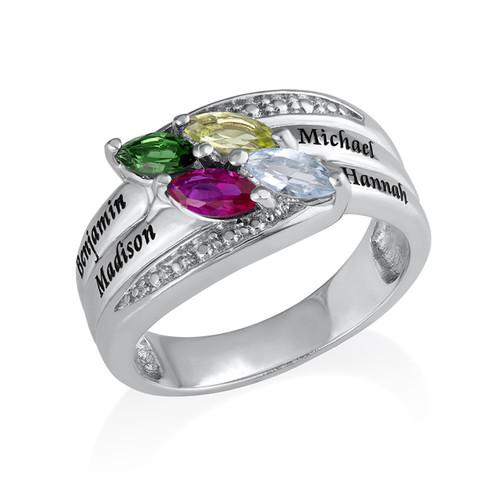 Moeder Ring met Geboortestenen in 925 Zilver - 1