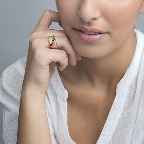 Moeder Ring met Geboortestenen in Goudkleur - 3