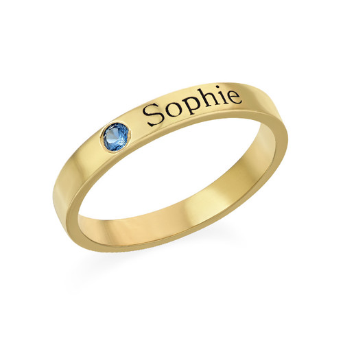 Naam ring met één steen - 18k geelgoud verguld