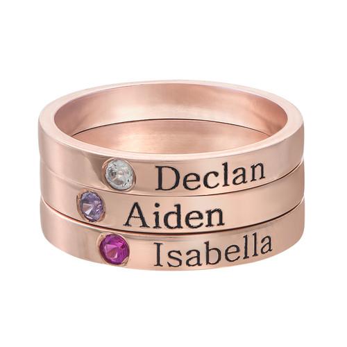 Naam ring met één steen - 18k roségoud verguld - 2